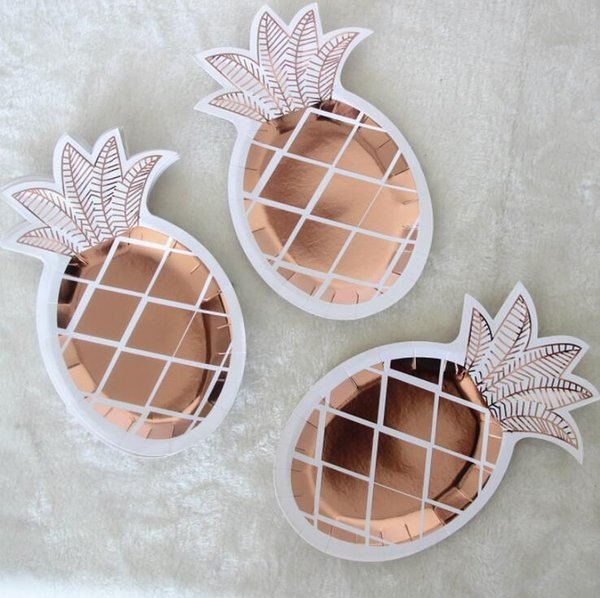8 Rose Gold Square Paper Plates Birthday Wedding Hen Party Disposable Tableware