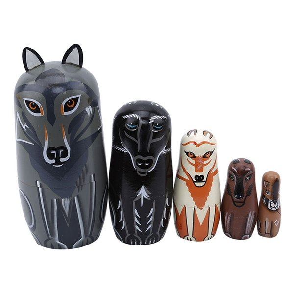 5pcs/set Cute Wooden Animal Wolf Paint Nesting Dolls Russian Doll Matryoshka Gift Hand Paint Toy home Decoration kids Gifts