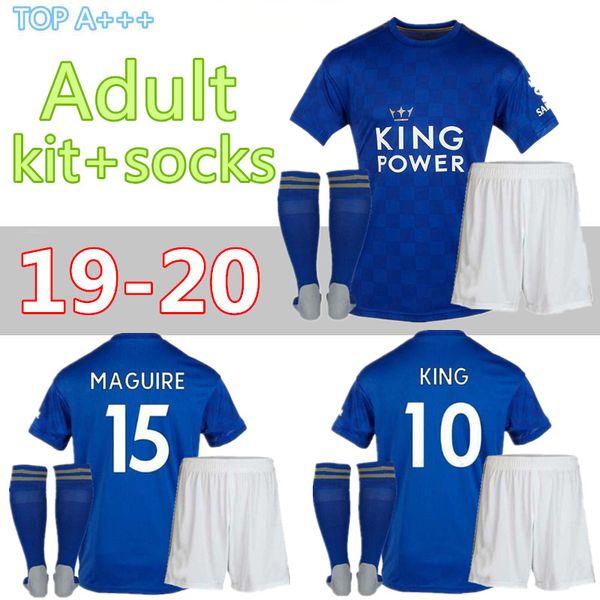Maillot de football de Leicester 19 20 City VARDY IHEANACHO MADDISON GREY MORGAN MAGUIRE domicile hommes maillots de football kits adultes + chaussettes