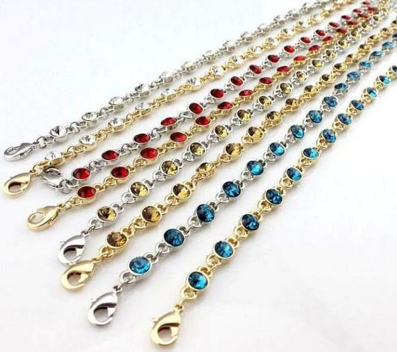 Fashion Crystal anklets barefoot sandals lobster clasp link chain sandbeach Multicolor mix wholesale summer jewelry Bikini accessory