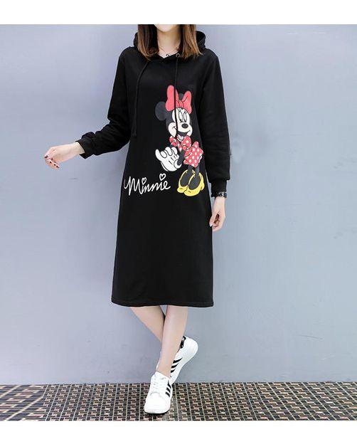 Women 2019 Autumn Casual Loose Long Hoodies Sweatshirt Long Sleeve Hooded Dresses Likable Print Dress Vestidos Plus Size