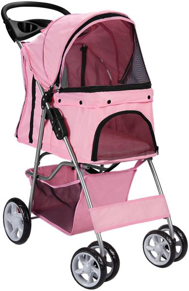top popular Pet cart cat dog 4-wheel Stroller Travel Folding Car Pink 2020