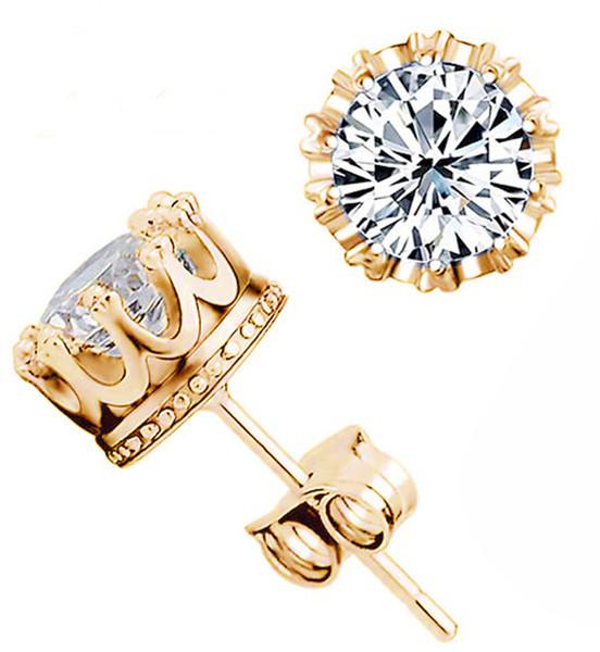 925 Серебряные серьги природных кристаллов циркона Sterling Шпильки Золото Серебро корейский Круглый Корона Ear Nails ювелирные изделия для женщин мужчин серьги