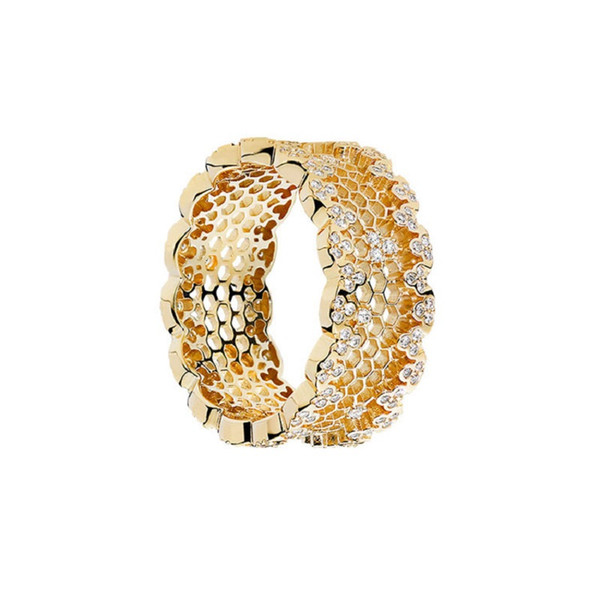 Luxury Jewelry CZ Ring S925 Sterling Silver Rings for Women 18K Plated Gold Color Honeycomb Rings Pandorx Cheap Wholesale DHL