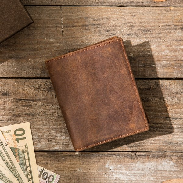 Handmade crazy horse leather suede leather retro style vertical men's wallet simple old leather ladies wallet