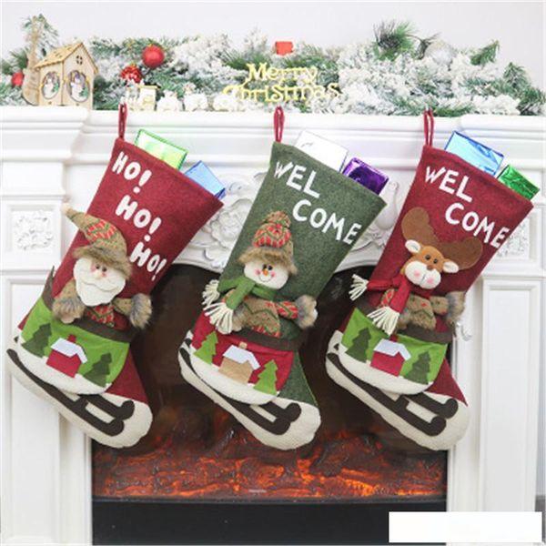 Новый стиль рождественские украшения носки подарки Рождественские мило мультфильм детей Подарок Чулок Подарок высокого качества конфеты мешок Бесплатная доставка