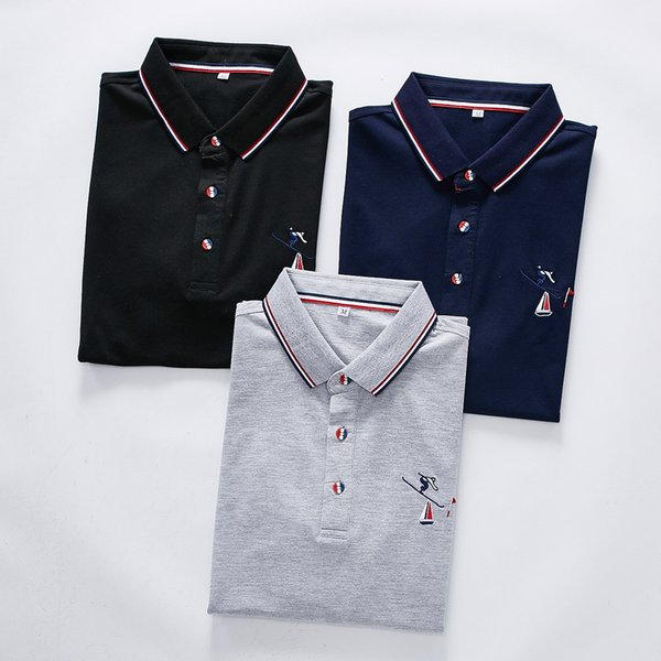 THOM polo BROWNE men Brand designer polos American famous fashion brand shirt Fashion high-end POLO Casual embroidery logo shirts new tee