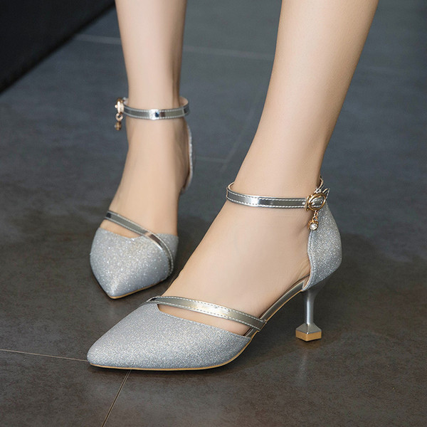 Sexy2019 Pattern European Women's Shoes Metal Light Lining Sharp Package Sandals Gold-plated Wine Glass Fine With Shoe G64