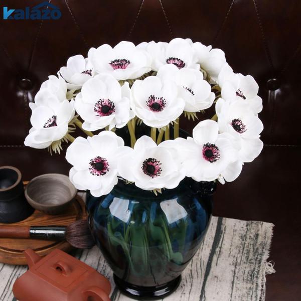 1 pc PU Anémone Real touch fleur artificielle mariage mariée Rose bouquet photographie accessoires pour la décoration de jardin ornement