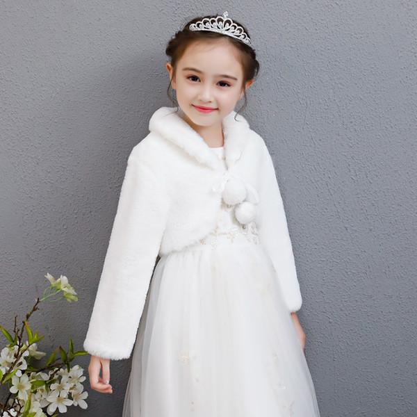 Children's Cape Cloak Autumn Winter Flower Girl Dress Princess Dress Long Sleeve Warm Jacket White Girl Thicken Hair Cape