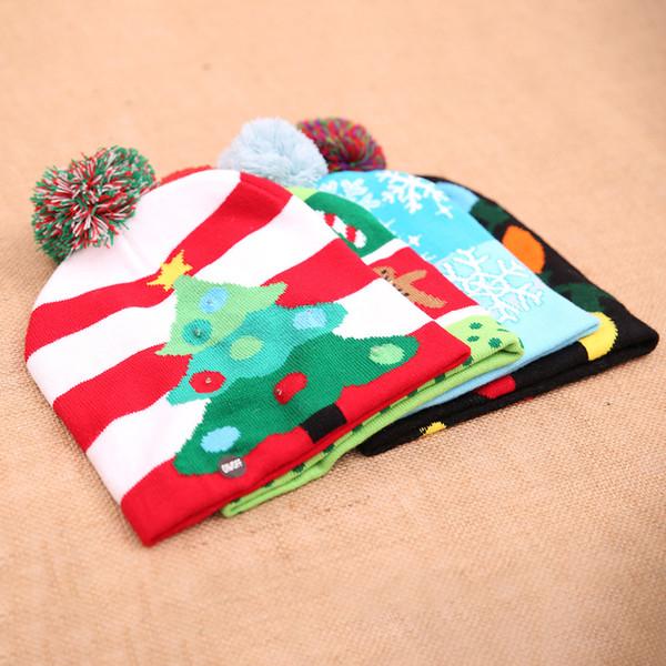 DHL gratis 4 colores luces LED de punto Navidad sombrero de Navidad gorrita tejida mujer invierno sombreros de nieve gorro de punto de vacaciones 2020 decoraciones navideñas M340F