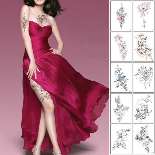 Fleur bras Freehand Esquisser autocollant de tatouage temporaire étanche Long Lasting Collier Hummingbird Rose Bijoux conception de tatouage pour femme Art
