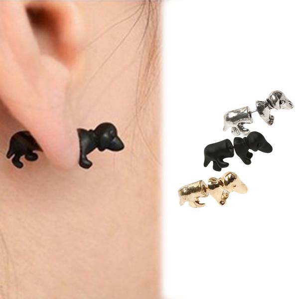 1 piece Stud Earrings Punk Rock Trendy Cool 3D Stereoscopic Dachshund/Dog Impalement Men/Women Ear Stud Tunnel Party Earrings