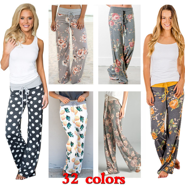 2019 Plus Size Women Yoga Fitness Wide Leg Pants Floral Print Palazzo  Trousers Pant 32 Styles Elastic High Waist Design Loose Sport Harem Pant  From