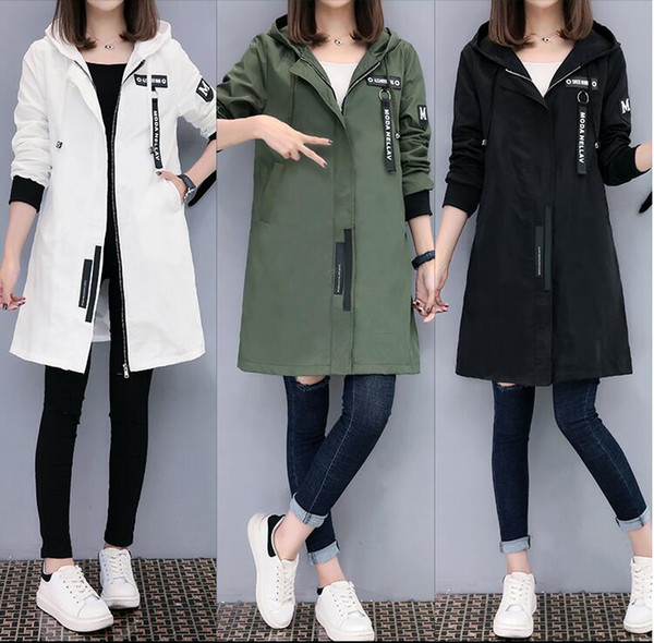 Trench-coat Femmes 2019 Printemps Automne Hoodies top Plus la taille Slim Vêtements de baseball étudiants Manteaux coupe-vent de longueur moyenne
