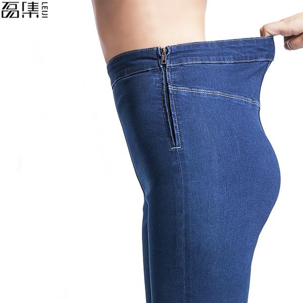 Jeans Femme Automne Eté Taille Haute Plus La Taille Stretch Full Length Skinny Slim Denim Pants Pour Femmes 4xl 5xl 6xl MX190729