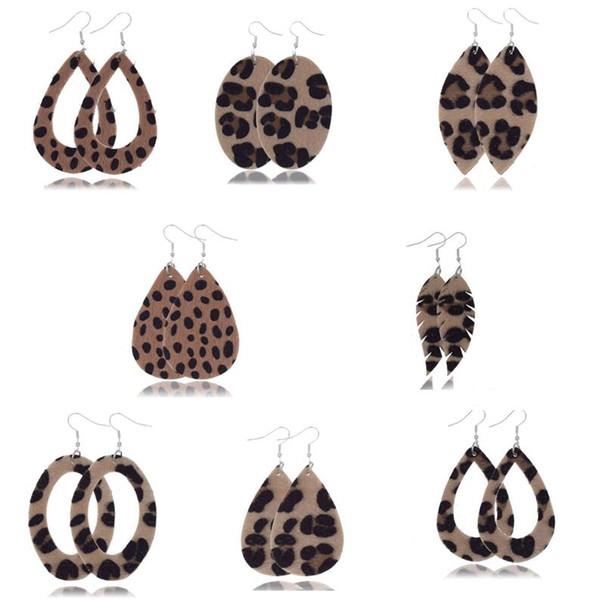 30pairs lot new faux leather teardrop earrings fashion jewelry leopard printed pu leather earrings for women