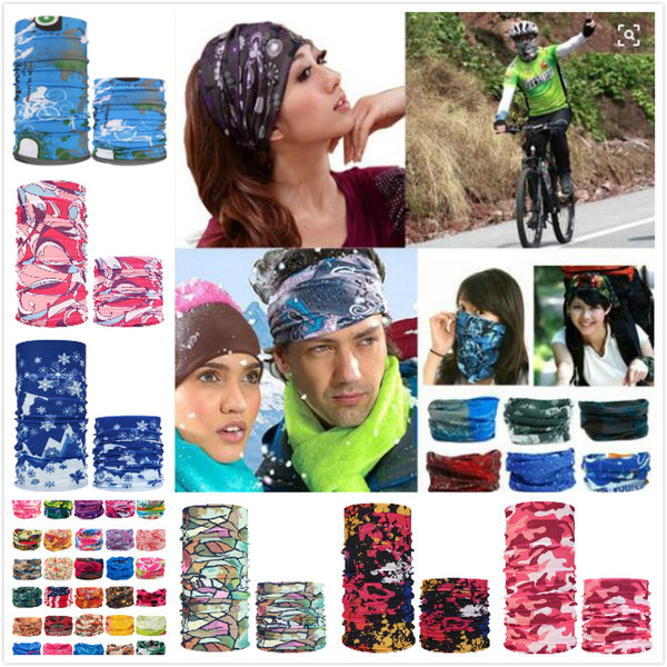 top popular Bandanas Multifunctional Outdoor Cycling Scarf Magic Turban Skull Scarf Face Mask Sunscreen Hair band more choices 2021