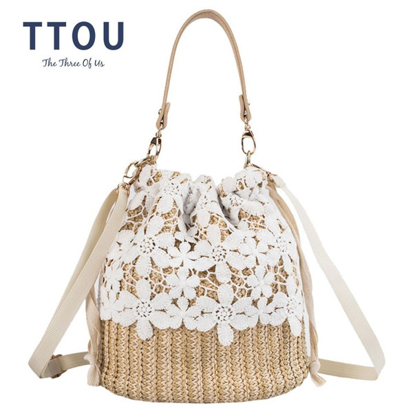 TTOU Summer Women Straw Bucket Bag with Hollow Flower Lace Ladies Handmade Handbag Beach Messenger Shoulder Bags sac a main