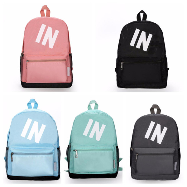 In Stock Pink Black Backpacks 5 colors Casual Knapsack Teenager Student Schoolbag Travel Bags Colors 16x11x5.5 Inch Fast Shipping