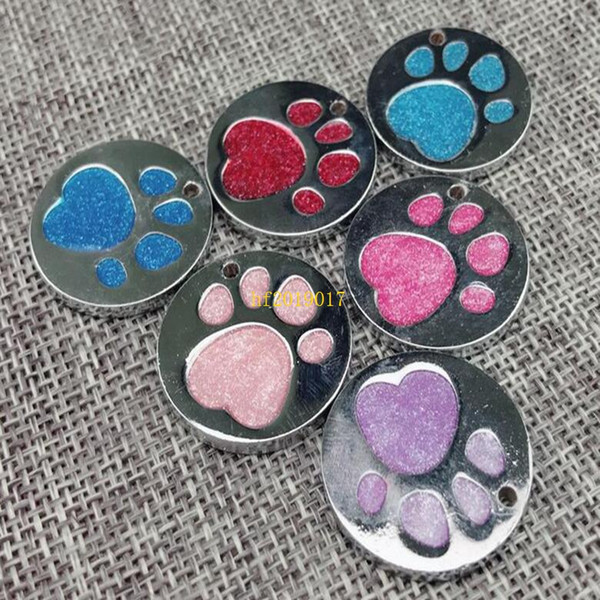 Etiqueta de identificación del animal doméstico etiquetas del perro del gato huellas huellas del perro etiquetas de identificación de la golosa 25 MM de diámetro al por mayor