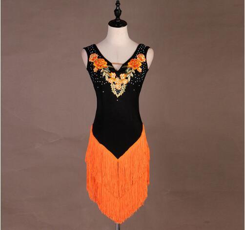 Falda de baile con borla latina Falda latina de tango Rumba Samba por encargo Falda latina Naranja Competencia latina Vestidos de baile