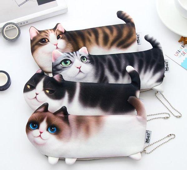 Creative cute cat pencil bag Korean version of the simulation printing cat stationery box storage pencil bag student supplies