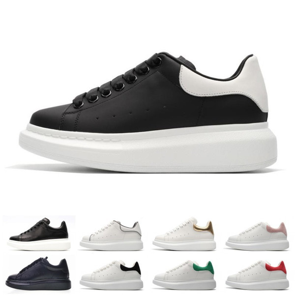 New Designer 3M reclective Luxury white leather casual shoes for girl women men black gold red fashion comfortable flat sneakers size 35-44