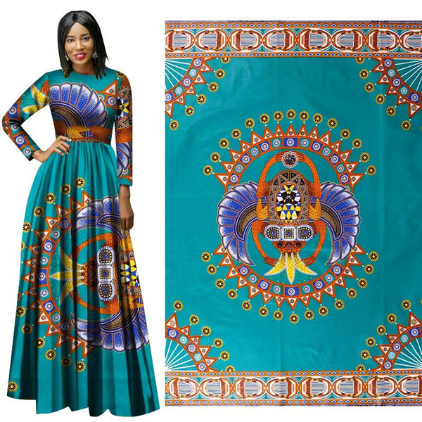 Latest High Quality new Cotton Fabric African national costume fabrics for dress green Geometric printing batik printed cloth wholesale