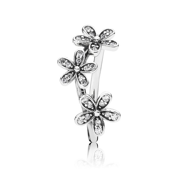 wholesale Pandora Dazzling Daisies Ring Clear CZ rose gold silver 925 Sterling silver jewelry free shipping