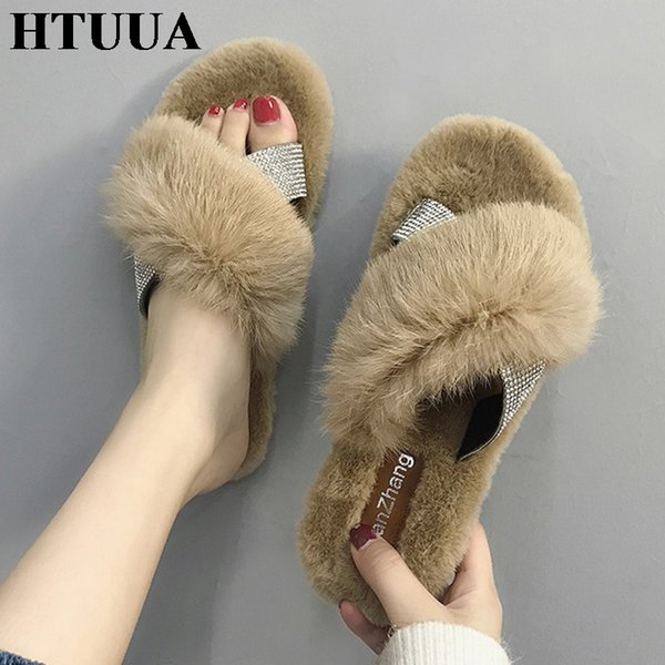 HTUUA Crystal Cross Fluffy Fur Slippers Women Winter Slippers Flat Furry Slides Indoor Floor Home Cozy Shoes SX1765