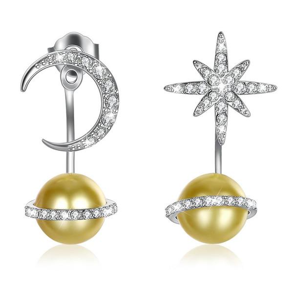Pendientes de botón con forma de estrella y luna con Swarovski Elements Gold Crystal Simple Fashion 925 Pendientes de botón Pandora de plata esterlina