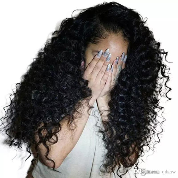Capelli umani ricci crespi parrucca parte per le donne afro-americane Pre-pizzicate Glueless Virgin Mongolo crespi ricci Upart parrucche nodi candeggiati