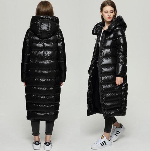 Free Shipping Women Winter Fashion Jacket Hooded Ladies Slim Model Long Jacket Duck Down Inside Warm Coat Femme Long Coat Down & Parkas