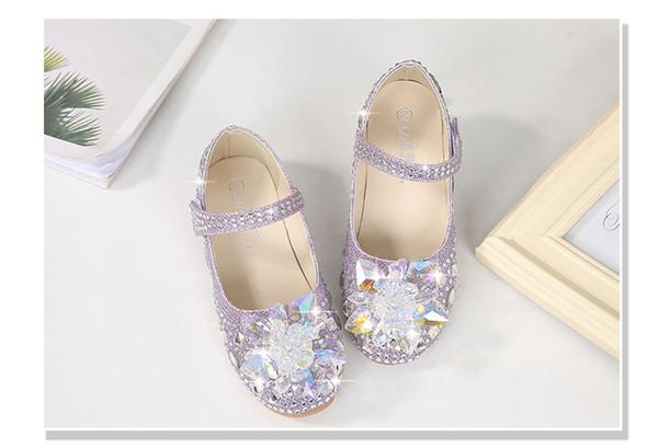 Purple Shiny Cinderella Crystal Shoes Designer Fashion Luxury Brand Girl Shoes Designer Shoes Full Diamond Kids Formal Wear Free Shipping