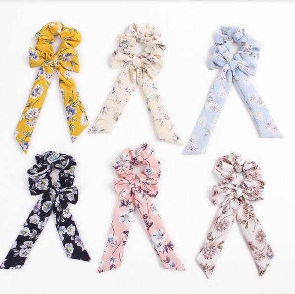Bow Streamers Hair Ring Fashion Ribbon Girl Elastic Hair Bands Scrunchies Horsetail Tie Floral Print Headwear Hair Accessories 100pcs F316