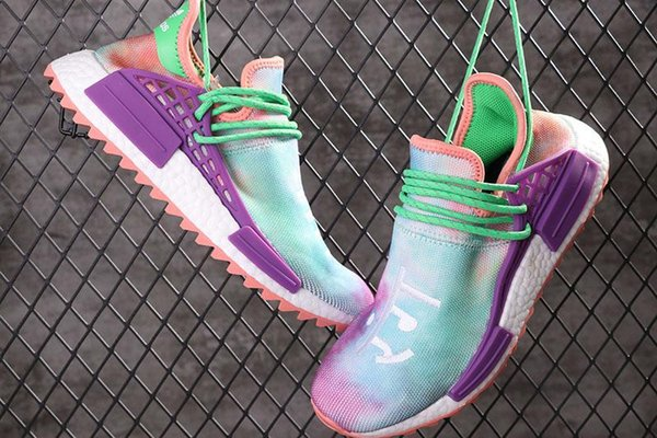 2019 NMD Human Race Pharrell Williams Men Running famous brands Shoes PW HU Holi Tie Dye Equality Designer women Sport Sneakers With Box A4