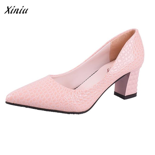 Dress Shoes Xiniu Women Comfortable Cheap Casual Ladies Sexy Solid Party Wedding Thick High Heel Pointed Toe Single Free Shipping