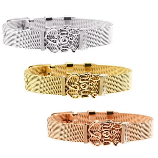Stylish DIY Mesh Belt Keeper Bracelet Double Heart Love Letter Charms Stainless Steel Reflections Bracelets Adjustable Women Gift
