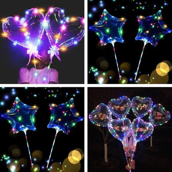 Любовь в форме сердца светодиодные фонари ночное освещение шарик бобо рождественские свадебные украшения в форме звезды светящиеся мигающие воздушные шары с палкой