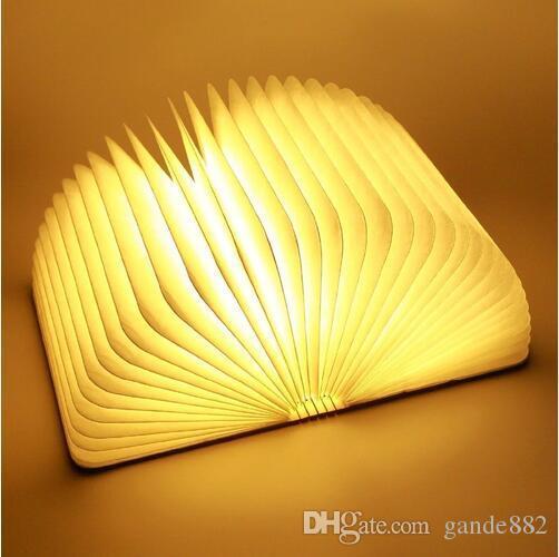 Warm Weiß Licht Große LED Buchlampe,Holz-Nachtlicht Nachttischlampe,Tischlampe