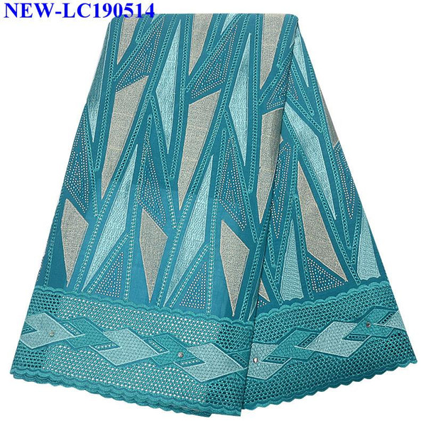 New design Green cotton lace fabric with stones 5 yards 2019 high quality Swiss voile cotton lace fabric in Switzerland NHX02