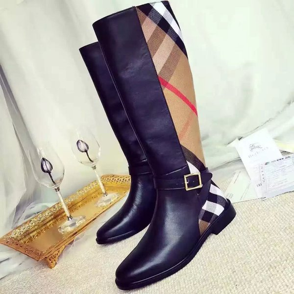 (with box) Sales winter popular classic plaid design Knee-High Luxurys Ladies boots Genuine Leather Designers Women's boots