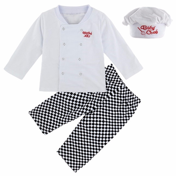 Baby Boy Chef Costume Infant Cosplay Clothing Set T-shirt+pants+hat Clothes New Year Carnival White Costume Suit For Babies J190520