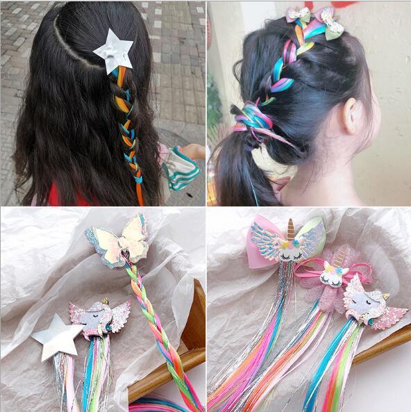 perruque licorne tresse accessoires cheveux pour enfants clip cheveux licorne filles en épingle à cheveux perruque couleur étoile Accessoires cheveux