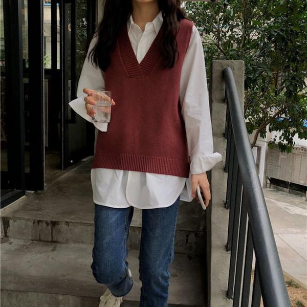 Nouveau casual Pull fendu lâche chaud pull col V capuche couleur unie en tricot gilet