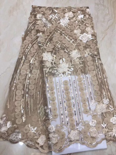2019 Promotion price Africa lace fabric high quality Sequins Embroidered rose red gauze French lace cheap 3D sequins fabric