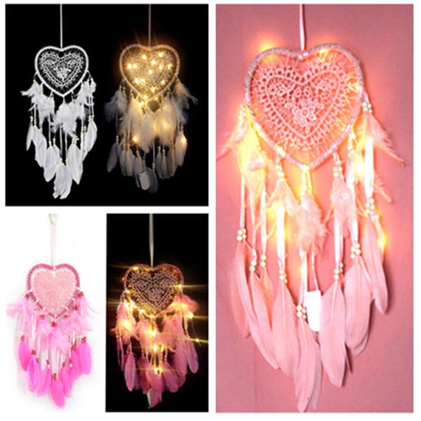 best selling LED Hollow Love Dream Catcher Dreamcatcher Feather Pendant Dream Catcher Creative Hanging Craft Wish Gift Home Decoration