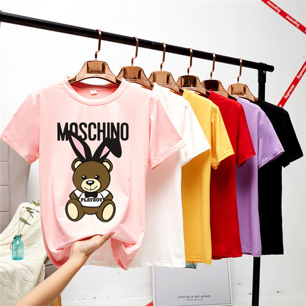 top popular 2019 Summer women Short Sleeve cotton tops tees designer polo shirts men Solid Color mens designer t shirts womens designer t shirts 2020