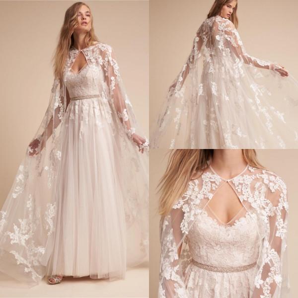 2019 Düğün Sarar Uzun Sweep Tren Yüksek Kalite Gelin Palto Dantel Aplike Akşam Parti Boleros Şal Paltolar Ceketler